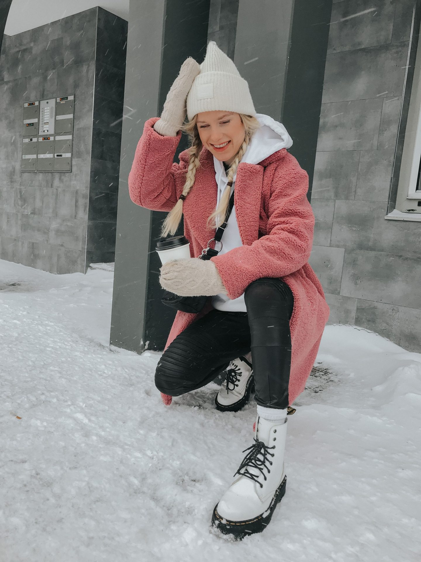 Winter Fashion Snow Pink Oversized Hoodie